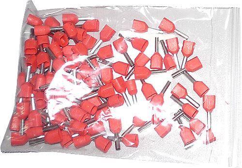 Dutinka pro dva kabely 1mm2,červená (TE1,0-8), balení 100ks