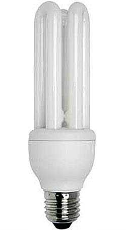 Úsporná žárovka 230V/20W E27 3xU,teplá bílá, DOPRODEJ