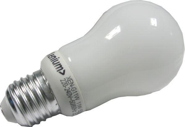 Úsporná žárovka Xenium, E27, hrušková, teplá bílá, 230V/11W
