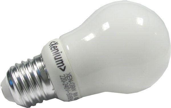 Úsporná žárovka Xenium, E27, hrušková, teplá bílá, 230V/9W, DOPRODEJ