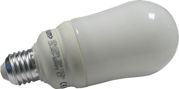 Úsporná žárovka Xenium, E27, hrušková, teplá bílá, 230V/20W