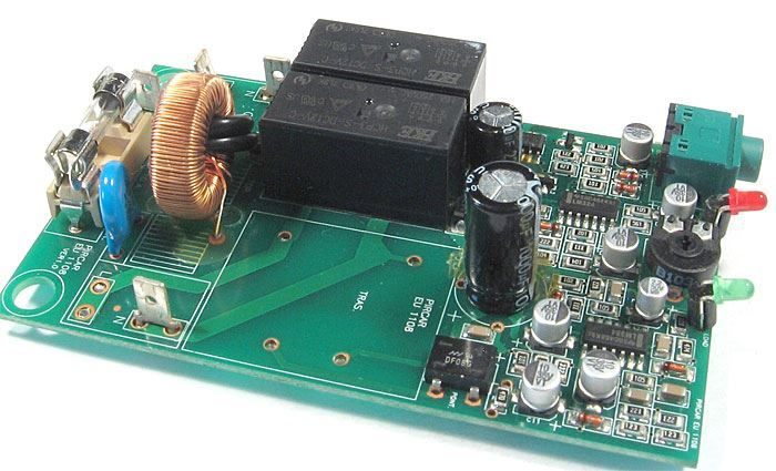 Deska s elektronikou, síťový filtr, 2x relé, bez trafa
