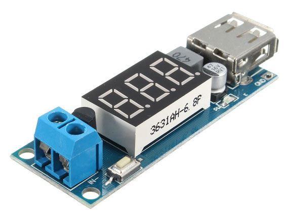 Napájecí modul, step-down měnič 4,5-40V na 5V/2A, USB+voltmetr