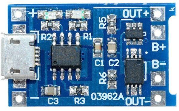 Nabíječka Li-Ion článku 1A s ochranou, modul s IO TP4056 (micro USB)