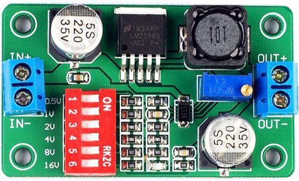 Napájecí modul, step-down měnič 2A s LM2596 s DIP spínačem