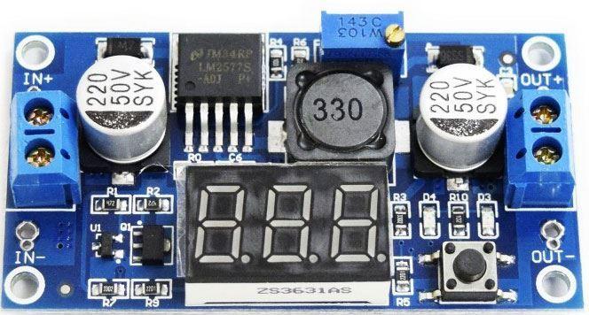 Napájecí modul, step-up měnič 2A s LM2577+LED displej