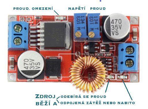 Napájecí modul, step-down měnič, nabíječka 5A CC/CV