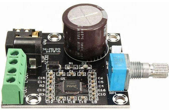 Zesilovač ve třídě D 2x15W, modul PAM8610 s potenciometrem