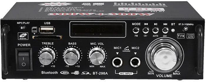 Zesilovač, rádio, bluetooth, přehrávač MP3, karaoke BT-298A