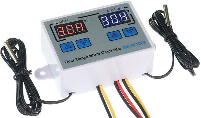 Digitální termostat duální XK-W1088, -50 až +110°C, napájení 12V