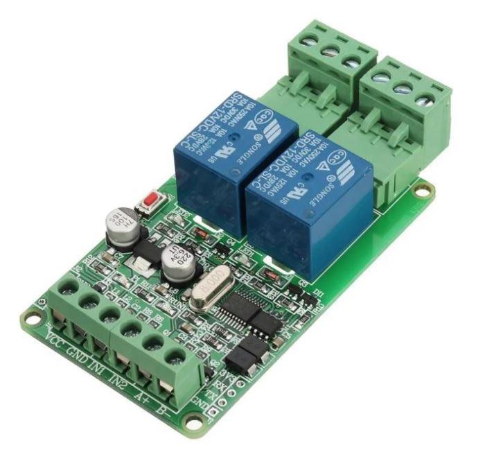 Modul relé 2x napájení 12V, s komunikačním rozhraním TTL/RS485