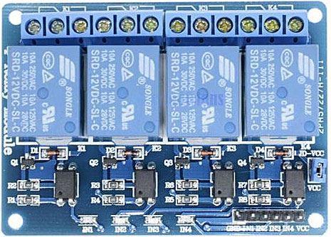 Modul relé 4x, napájení 12V, s optočlenem