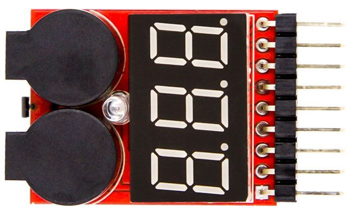Indikátor stavu nabití a tester pro 1-8 článků Li-Ion nebo Li-Pol