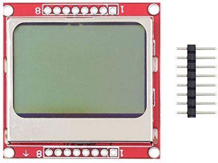 Displej LCD 84x48 znaků, Nokia5110, modré podsvícení, červená DPS