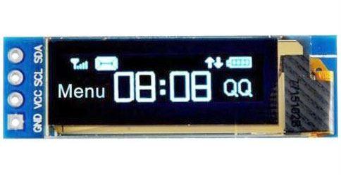 """Displej OLED 0,91"""", 128x32 znaky, IIC/I2C, 4piny, bílý"""