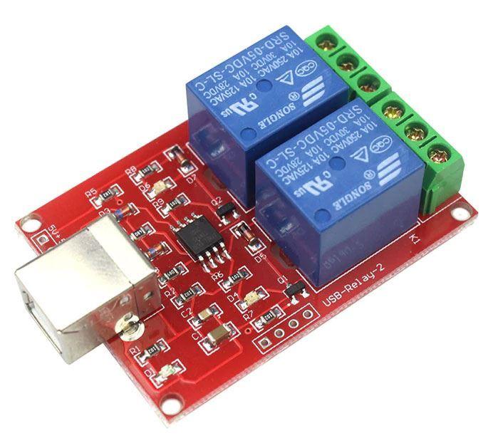 Modul relé USB, 2 kanálový s Atiny45