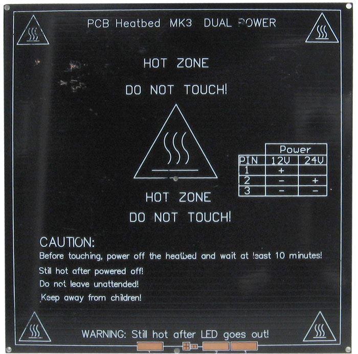 Topná podložka MK3 214x214x3,5mm 12-24V 120W /3D tisk/