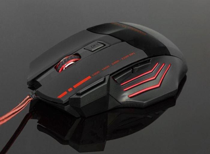 Herní optická myš, USB, červená