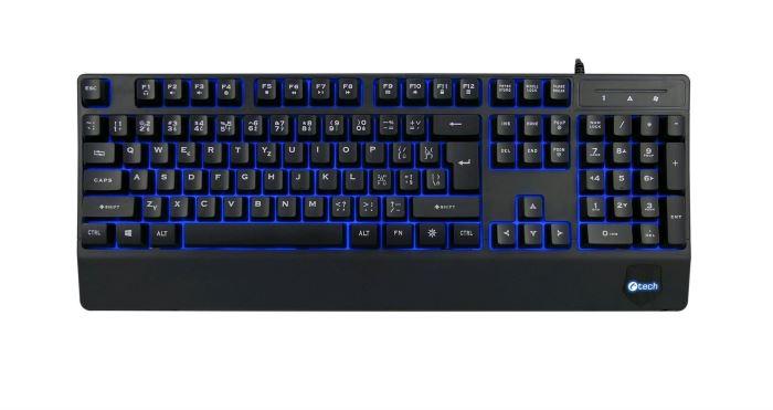 Klávesnice C-TECH KB-104BK, USB, 3 barvy podsvícení, černá, CZ/SK