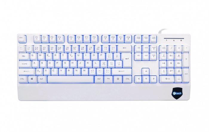 Klávesnice C-TECH KB-104W, USB, 3 barvy podsvícení, bílá, CZ/SK