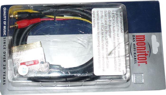 Kabel Scart IN-3xCinch OUT, 2m, Inakustik
