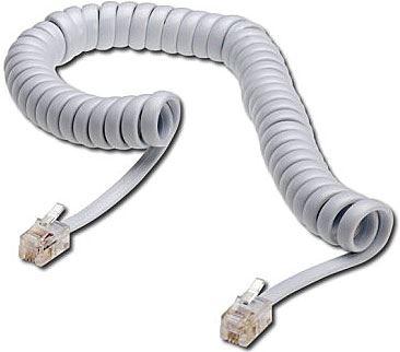 Telefonní kabel kroucený bílý 2m (4P4C) RJ9