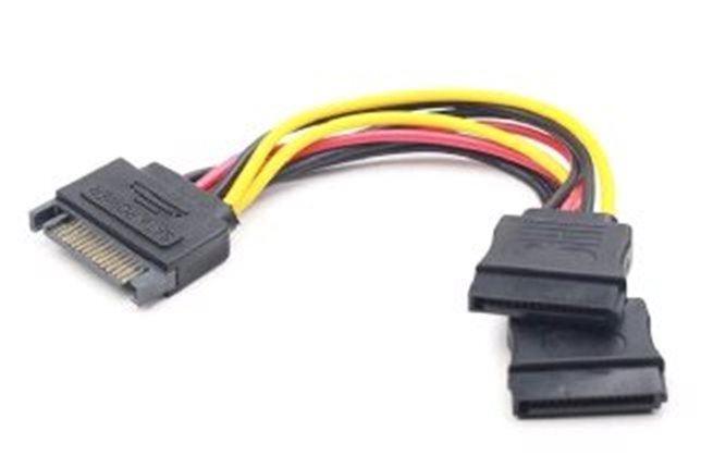 Napájecí kabel SATA na 2x SATA, rozdvojka, 15cm