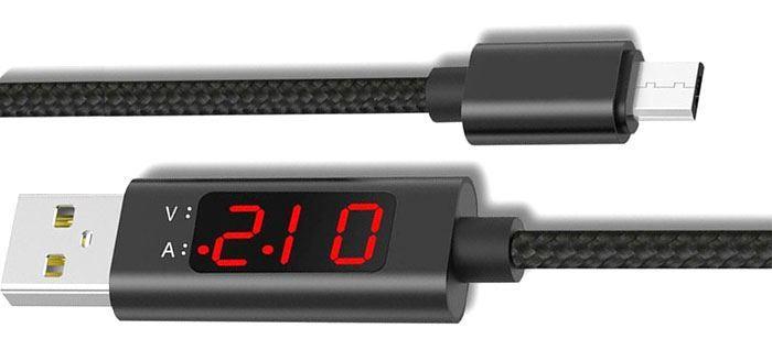 Kabel USB 3.0 konektor USB / USB Micro 1m s voltmetrem a ampérmetrem