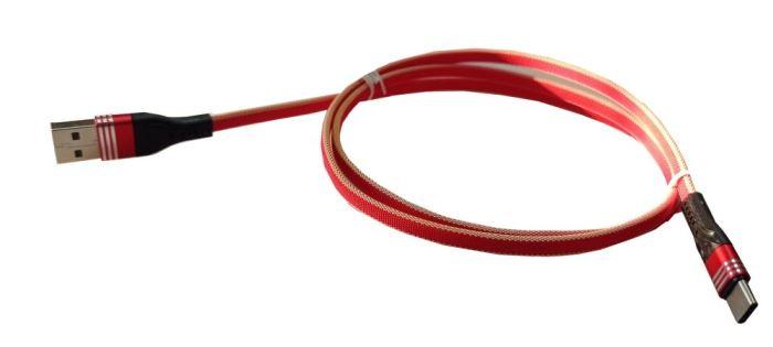 Kabel USB 2.0 konektor USB A / USB-C 1m, nylon, červený