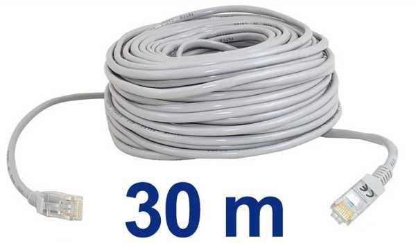UTP kabel Patch RJ45 30m šedý cat5e