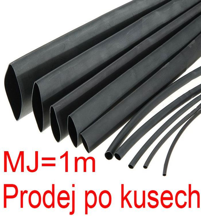 Smršťovací bužírka 3,5/1,75mm černá, balení 1m