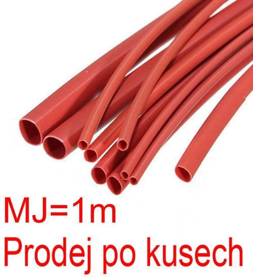 Smršťovací bužírka 8,0/4,0mm červená, balení 1m