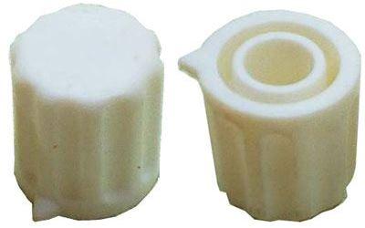 Přístrojový knoflík KP1406, 14x15mm, hřídel 6mm, bílý s šipkou
