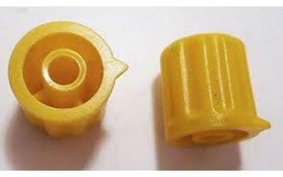 Přístrojový knoflík KP1404, 14x15mm, hřídel 4mm, žlutý