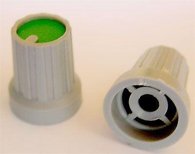 Přístrojový knoflík KP15, 15x18mm, hřídel 4mm, zelený