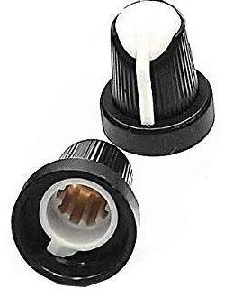 Přístrojový knoflík 15x17mm, hřídel 6mm černo-bílý