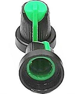 Přístrojový knoflík 15x17mm, hřídel 6mm černo-zelený