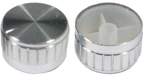 Přístrojový knoflík 18T 30x17mm, hřídel 6mm stříbrný