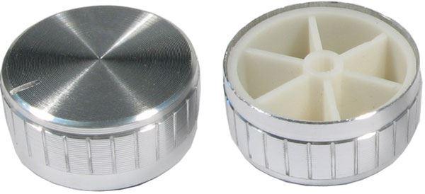 Přístrojový knoflík 18T 40x17mm, hřídel 6mm stříbrný