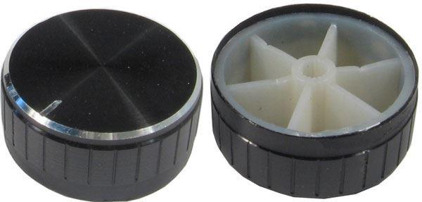 Přístrojový knoflík 18T 40x17mm, hřídel 6mm černý
