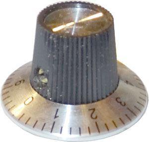 Přístrojový knoflík KN-140A 29x15mm, hřídel 6mm, stupnice 0-9