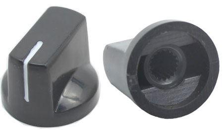 Přístrojový knoflík KN19 19x14,5mm, hřídel 6mm, černý