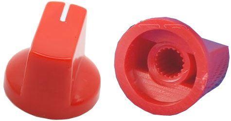 Přístrojový knoflík KN19 19x14,5mm, hřídel 6mm, červený
