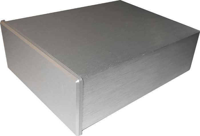 Krabička hliníková dvoudílná eloxovaná stříbrná, 100x128x40mm