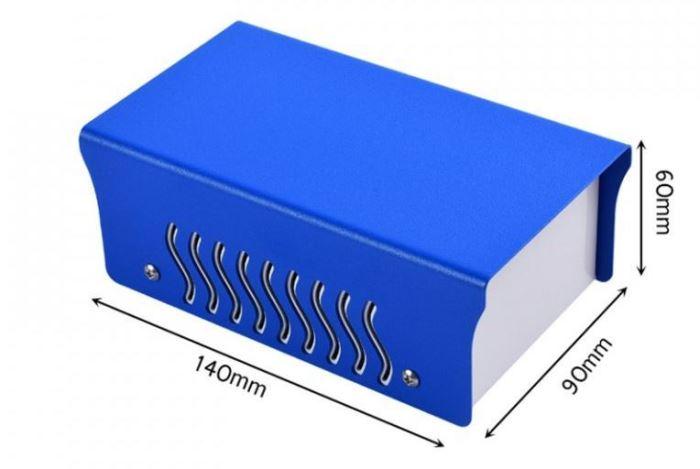 Krabička plechová dvoudílná, 90x140x60mm, modrá/bílá