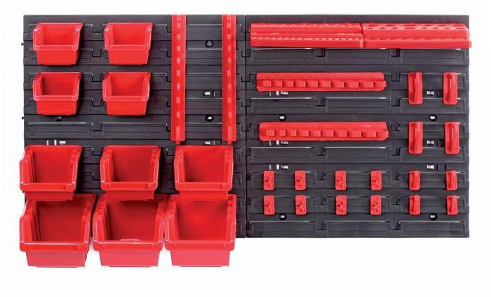 Závěsný panel s 10 boxy a 22 držáky na nářadí ORDERLINE 800x165x400