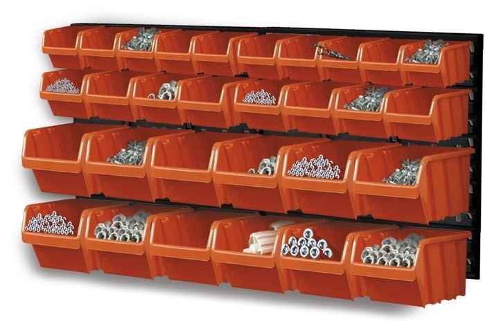 Stohovací bedny-sada s panelem 800x400x195mm, ORDERLINE NTBNP3