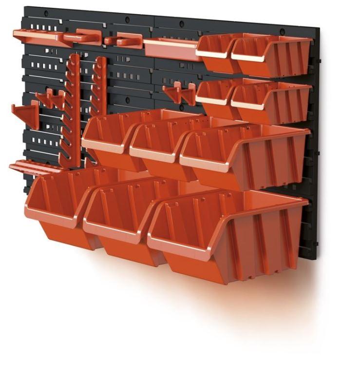 Stohovací bedny-sada s panelem 400x165x400mm, ORDERLINE NTBNP4