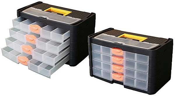 Kufr na součástky se šuplíky 42x23x24cm