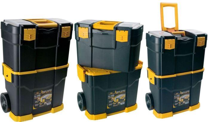 Kufr na nářadí plast. na kolečkách 460x285x665mm - prasklý